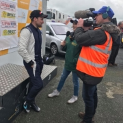 Michael Comber Racing Mazda Mx5 Mk1 racer Adam Bessell being interviewed again