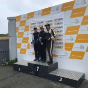 Michael Comber Racing Mazda Mx5 Mk1 2 drivers on Podium at Angleseyrace