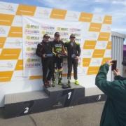 Michael Comber Racing Mazda Mx5 Mk1 racing podium for Charlie Mugglestone