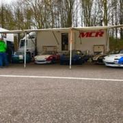 Michael Comber Racing Mazda Mx5 Mk1 Mk3 race team in the paddock at Brands Hatch