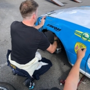 Michael Comber Racing Mazda Mx5 Mk1 pre race preparation straightening out front wing