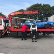 Michael Comber Racing Mazda Mx5 Mk1 race car comes back on recovery vehicle