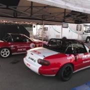 Michael Comber Racing Mazda Mx5 Mk1 race cars at Donington park with 5club and 750mc