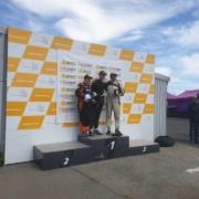 Michael Comber Racing Mazda Mx5 Mk1 Mk3 race driver Simon Fleet on Podium