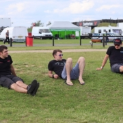 Michael Comber Racing Mazda Mx5 Mk1 Mk3 race team chilling again at Snetterton