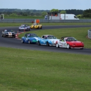 Michael Comber Racing Mazda Mx5 Mk1 Mk3 3 race drivers fighting at the front at Snetterton