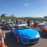 Michael Comber Racing Mazda Mx5 Mk1 Mk3 assembly area for Simon Fleet at Snetterton